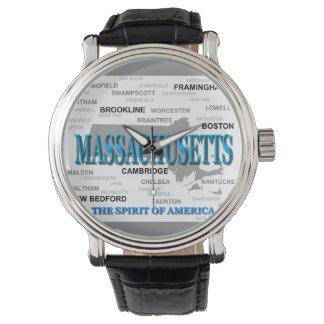 Massachusetts Cities and Towns State Map, Boston Wristwatch