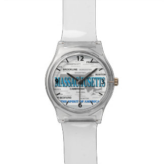 Massachusetts Cities and Towns State Map, Boston Wristwatches