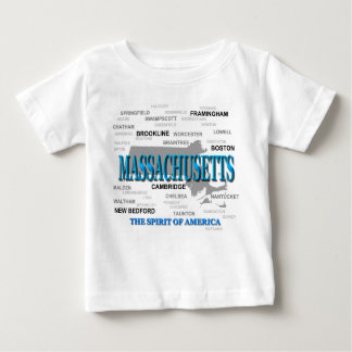 Massachusetts Cities and Towns State Pride Map Baby T-Shirt