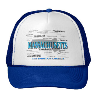 Massachusetts Cities and Towns State Pride Map Mesh Hats