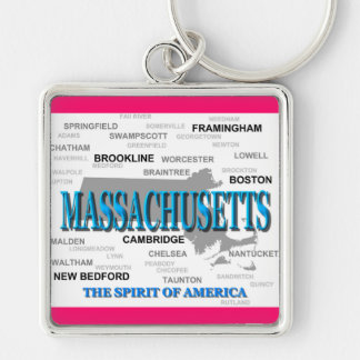 Massachusetts Cities and Towns State Pride Map Key Chain