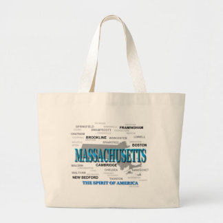 Massachusetts Cities and Towns State Pride Map Large Tote Bag