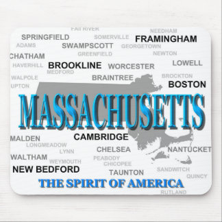 Massachusetts Cities and Towns State Pride Map Mouse Pad