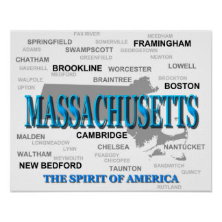 Massachusetts Cities and Towns State Pride Map Poster