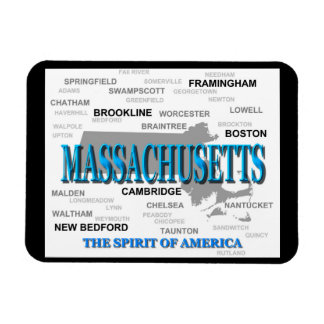 Massachusetts Cities and Towns State Pride Map Flexible Magnets