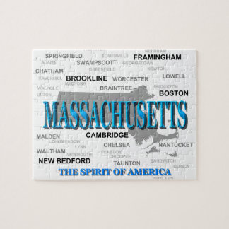 Massachusetts Cities and Towns State Pride Map Puzzles