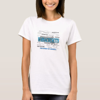 Massachusetts Cities and Towns State Pride Map T-Shirt