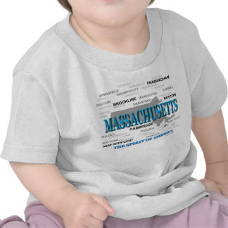 Massachusetts Cities and Towns State Pride Map Shirts