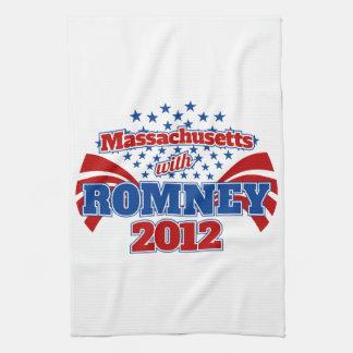Massachusetts con Romney 2012 Toalla De Cocina