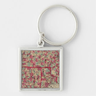 Massachusetts, Connecticut, and Rhode Island Silver-Colored Square Keychain