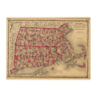 Massachusetts, Connecticut, and Rhode Island Wood Print