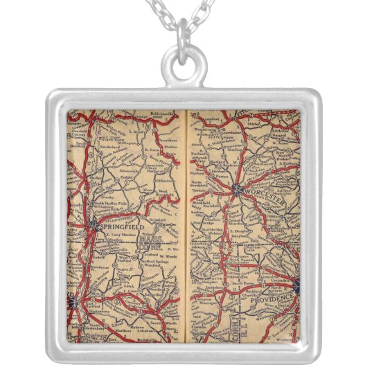 Massachusetts, Connecticut, Rhod Island Silver Plated Necklace