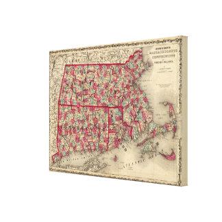 Massachusetts, Connecticut, y Rhode Island Impresion De Lienzo