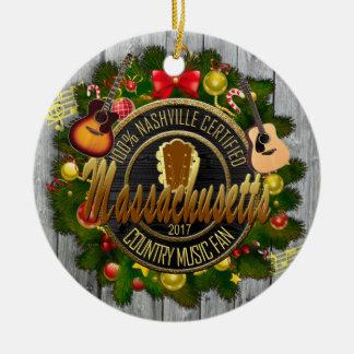 Massachusetts Country Music Christmas Ornament