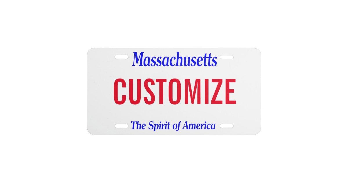 massachusetts custom license plate zazzle com