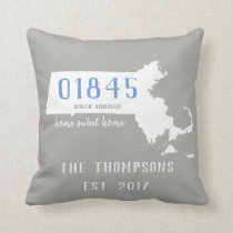 Massachusetts Custom Town Zip Code Home Pillow