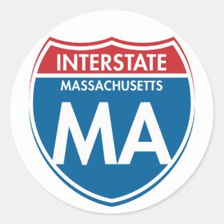 Massachusetts de un estado a otro mA Pegatina Redonda