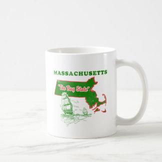 Massachusetts el diseño del estado de la bahía taza básica blanca