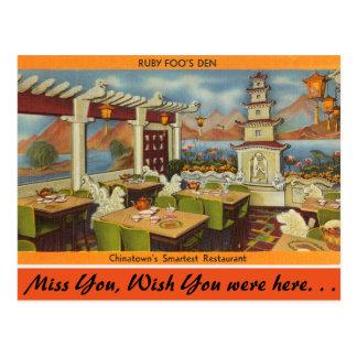 Massachusetts, el restaurante de Foo de rubíes, Tarjetas Postales