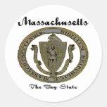 Massachusetts el sello del estado de la bahía pegatina redonda