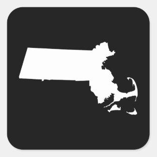 Massachusetts en blanco pegatina cuadrada