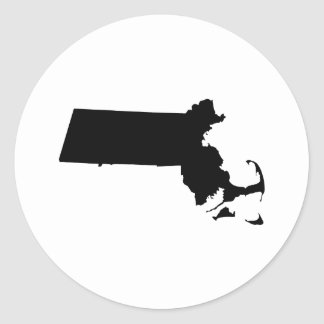 Massachusetts en negro pegatina redonda