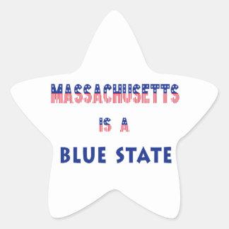 Massachusetts es un estado azul pegatina en forma de estrella