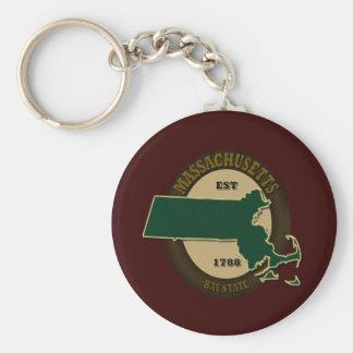 Massachusetts Est 1788 Basic Round Button Keychain