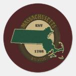 Massachusetts Est 1788 Pegatina Redonda