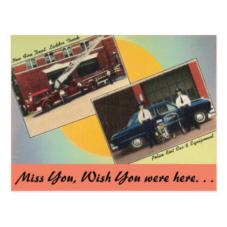 Massachusetts, Fire & Police Postcard