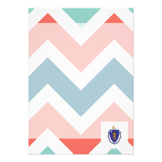 "Massachusetts Flag Box on Colorful Chevron 5"" X 7"" Invitation Card"