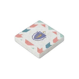 Massachusetts Flag Box on Colorful Chevron Stone Magnet