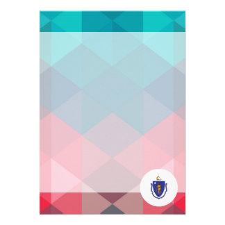 "Massachusetts flag circle on modern bokeh 5"" x 7"" invitation card"