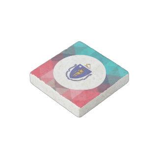 Massachusetts flag circle on modern bokeh stone magnet