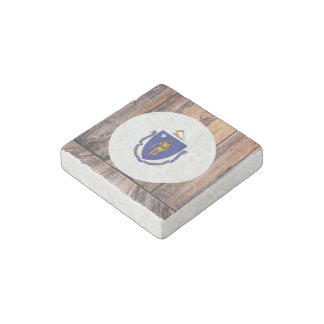 Massachusetts flag circle on wood background stone magnet