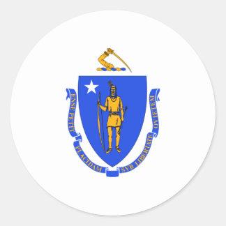 Massachusetts Flag Classic Round Sticker
