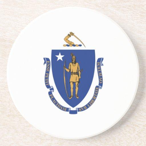 Massachusetts Flag Drink Coasters