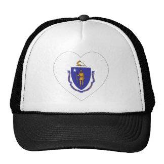 Massachusetts Flag Heart Mesh Hats