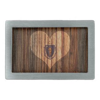 Massachusetts Flag Heart on Wood theme Rectangular Belt Buckle