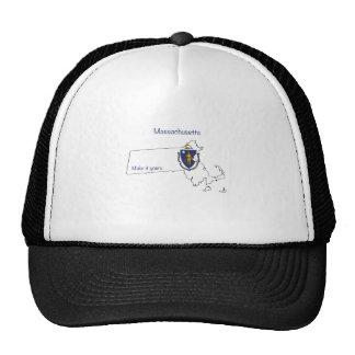 Massachusetts Flag, Map and Slogan spirit wear Trucker Hats