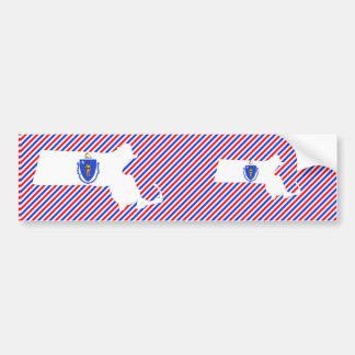 Massachusetts Flag Map Bumper Sticker