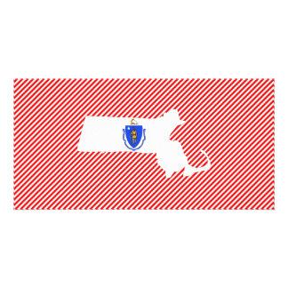 Massachusetts Flag Map Card