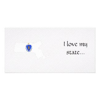 Massachusetts Flag Map Photo Greeting Card