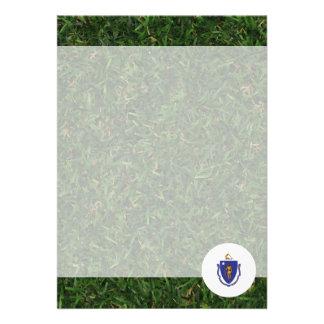 "Massachusetts Flag on Grass 5"" X 7"" Invitation Card"