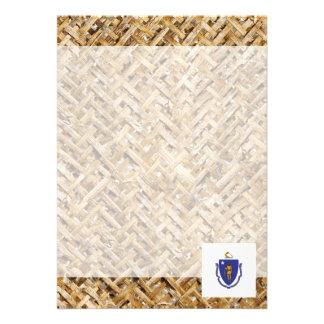 "Massachusetts Flag on Textile themed 5"" X 7"" Invitation Card"