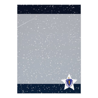 "Massachusetts Flag Star In Space 5"" X 7"" Invitation Card"