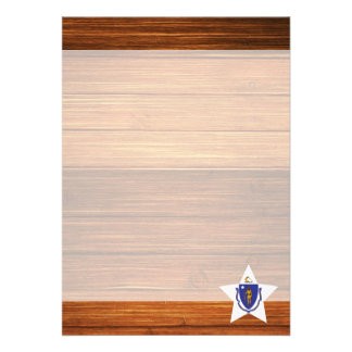 "Massachusetts Flag Star on Wood 5"" X 7"" Invitation Card"