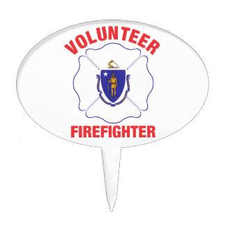Massachusetts Flag Volunteer Firefighter Cross Cake Toppers