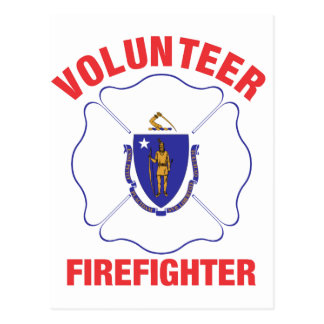 Massachusetts Flag Volunteer Firefighter Cross Postcard