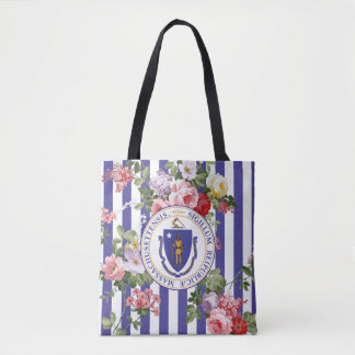 Massachusetts Floral Stripe Personalize Tote Bag